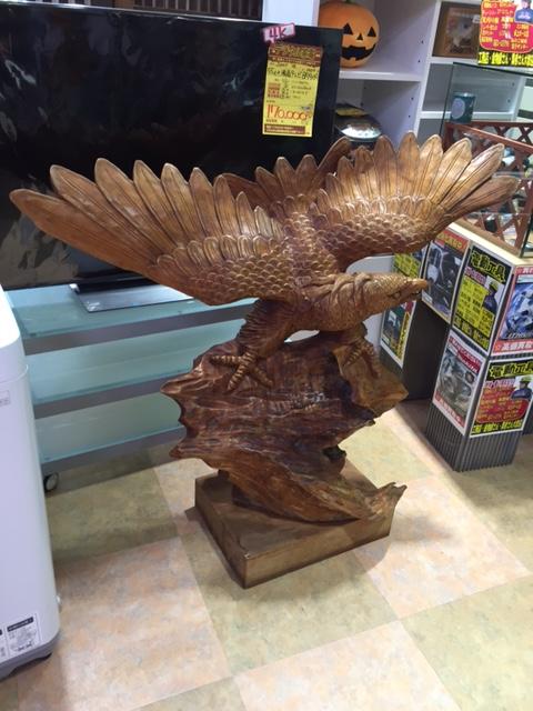サンステッププラス ワッセ店で一刀彫のでっかい鷲買わせて頂きました! 福井 リサイクル