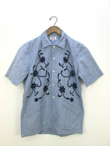 GAIJIN MADE ガイジンメイド 花柄 刺繍 リネン 半袖 シャツ 福井サンステップ本店