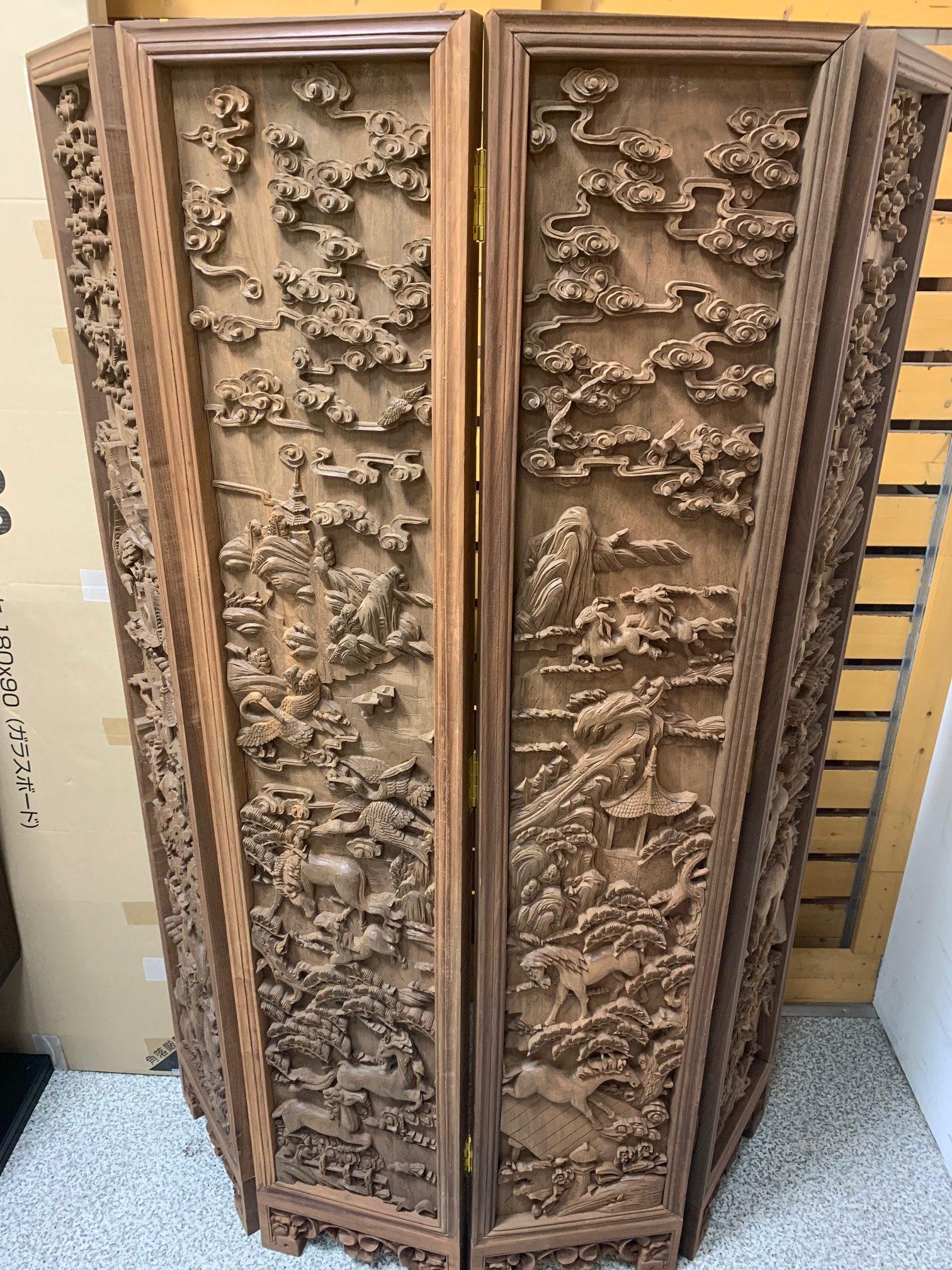細かい木彫りのついたて入荷!サンステッププラスワッセ店 買取 買い取り 福井市
